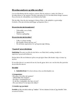 tolkning av noveller en hjelp til elever i vgs