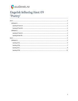 Løsningsforslag - Engelsk Høst 2009 Vg1 - Poetry