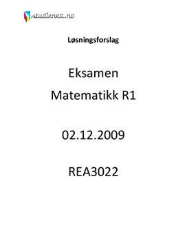 Matematikk R1 eksamen høsten 2009