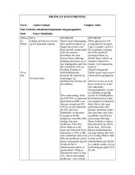 Forbedre utholdenhet | Øktplan og egentreningsrapport