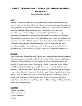 Forsøk 3.2 Karbohydrattest   Rapport