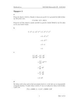 Løsningsforslag - eksamen i matematikk 2P vår 2010