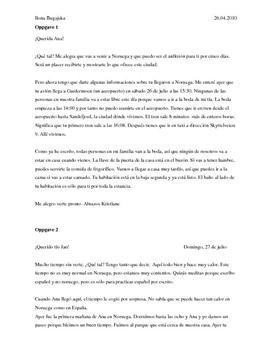 Dos cartas en español   Brev på spansk