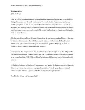 Una carta sobre mi año en Málaga   Brev på spansk