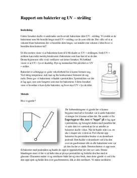 Bakterier og UV-stråling | Rapport