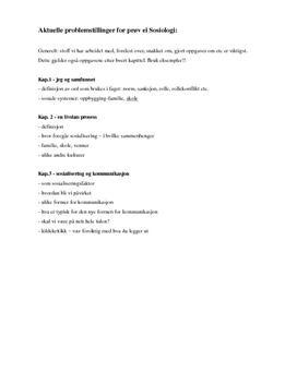 Notater til prøve i sosiologi kap. 1-3