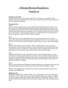 """Maskeblomstfamilien"" | Analyse"