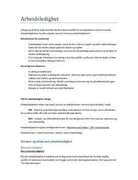 Arbeidsledighet | Sammendrag