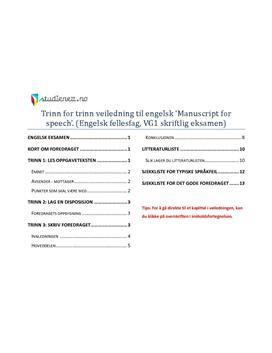 Veiledning - å skrive manuscript for speech i Engelsk