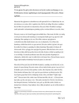 Ex. phil   Fysisk verden - Descartes, Hume og Kant
