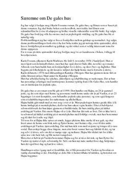 De gales hus av Karin Fossum | Fordypningsoppgave