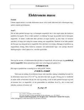 Elektronens masse | Rapport