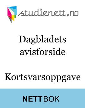 Dagbladets avisforside | Kortsvarsoppgave