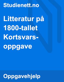Litteratur på 1800-tallet | Kortsvarsoppgave