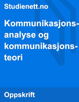 Kommunikasjonsanalyse og Kommunikasjonsteori